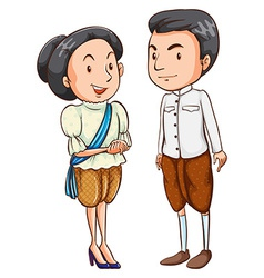 A couple with their costumes vector image vector image