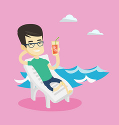 man relaxing on beach chair vector image