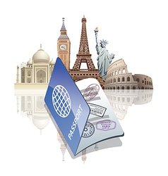 passport and landmarks vector image vector image
