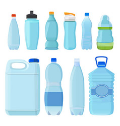 plastic bottles for water of different types and vector image vector image