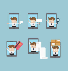 set of businessman with mobile smartphone vector image vector image