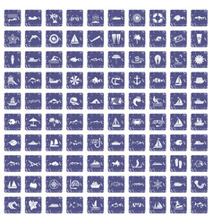 100 sea icons set grunge sapphire vector
