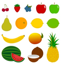 14 fresh fruit icons vector