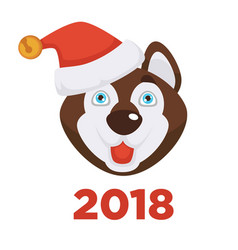2018 new year poster with husky dog in christmas vector