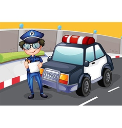 A policeman with his police car vector image