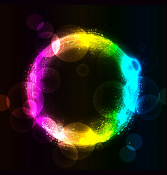 abstract circle in spray and rainbow vector image