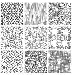 Abstract pen sketch seamless pattern set vector