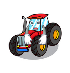 Afraid tractor mascot cartoon style vector