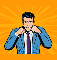 Aggressive businessman or super hero with fists vector