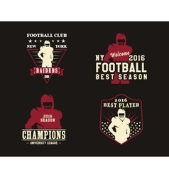 American football player team badges vector