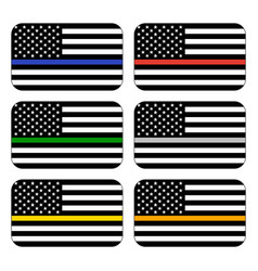 American thin line flag set vector
