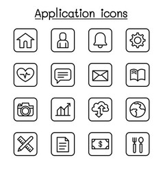 application icon set in thin line style vector image