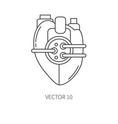 Bionic heart prosthesis line icon bionic vector