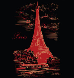 black and red hand drawing paris 1 vector image