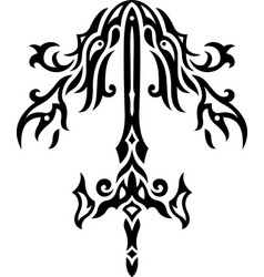 black and white pattern with sword vector image