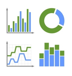 Blue and Green Business Graph Icons Set vector image