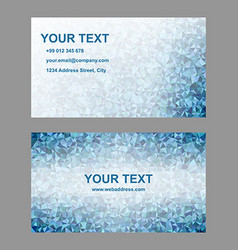 Blue triangle mosaic business card template design vector image