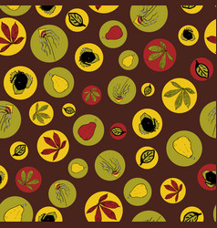 Brown autumn leaves and fruits doodle vector