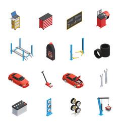 Car maintenance service isometric icons vector