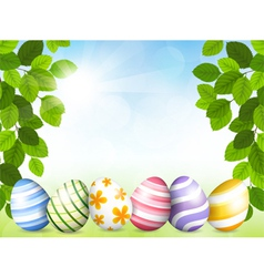 card easter with beautiful eggs vector image