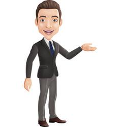 cartoon businessman showing hand gesture sideways vector image