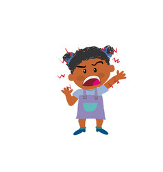 cartoon character of a angry black girl vector image