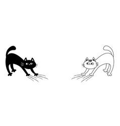 Cat set arch back kitten scratching scratch track vector