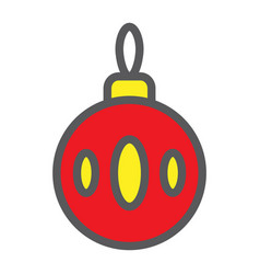 christmas tree ball filled outline icon xmas and vector image