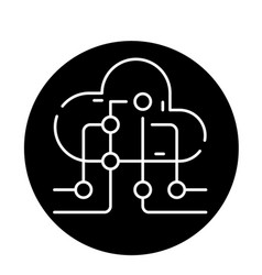 cloud information technology black icon vector image