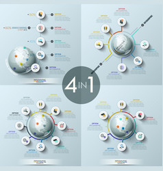 Collection 4 modern infographic design layouts vector