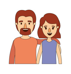 color image caricature half body couple woman with vector image
