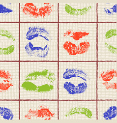 Colorful lipstick imprints arrranged in a grid on vector