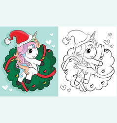 coloring pages unicorns christmas cartoon hand vector image