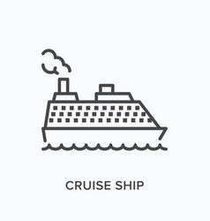 cruise ship flat line icon outline vector image