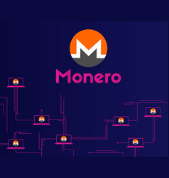 Cryptocurrency monero on dark background vector