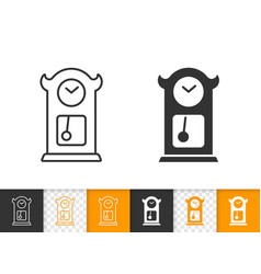 Cuckoo clock simple black line icon vector