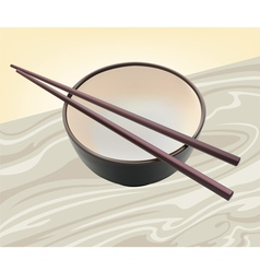 Cup and chopsticks vector