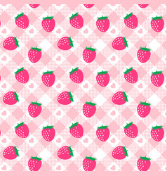 Cute bastrawberry pink gingham pattern vector