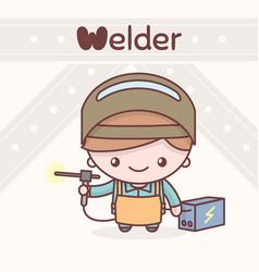 cute chibi kawaii characters alphabet professions vector image