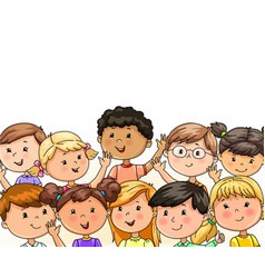 Cute children group happily wave their hands vector