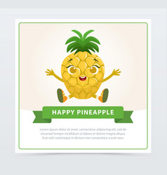 Cute humanized ananas fruit character happy vector