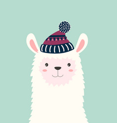 cute llama isolated winter card vector image
