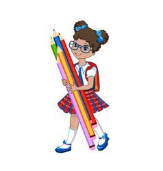 cute schoolgirl with color pencils vector image