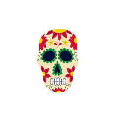 day the dead ornately decorated skull flat vector image