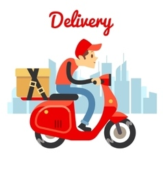 Delivery courier ride scooter motorcycle vector