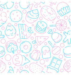 Desserts pattern kids delicious food sweet cakes vector