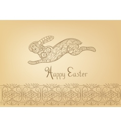 Easter folk ornament rabbit hand-drawn typography vector image