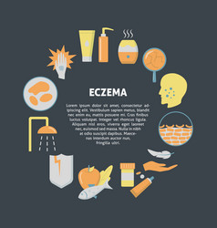 eczema symptoms and treatment round concept banner vector image