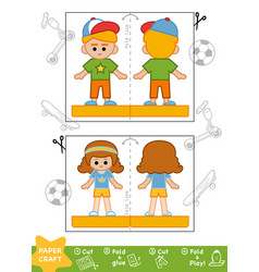 education paper crafts for children sporty vector image