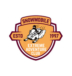 extreme adventure club emblem with snowmobile vector image